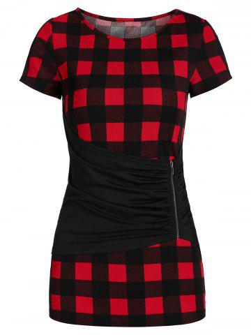 Checked Round Collar Ruched T Shirt