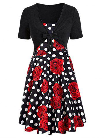 Floral Print Dotted Dress with Knotted Crop Tee