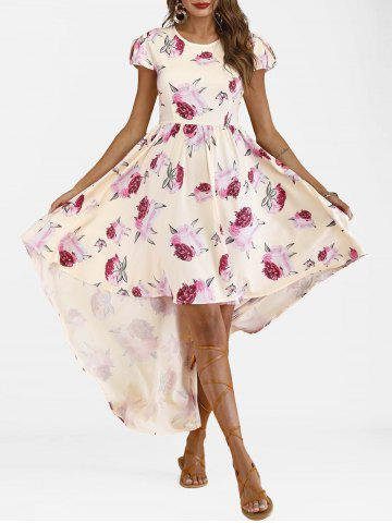 Petal Sleeve High Low Floral Dress