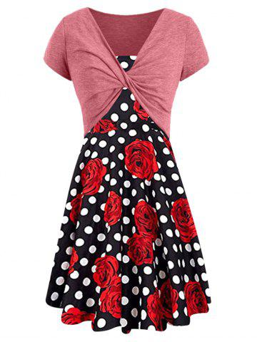 Floral Print Dotted Dress with Twisted Crop Tee