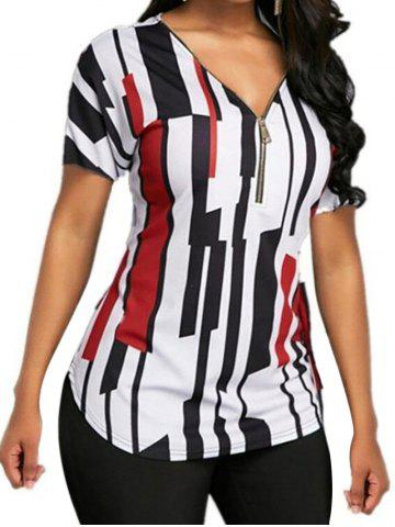 f710e90b 25% OFF] Women's V Neck Wild Striped Slim Plus Size Puff Sleeve OL ...