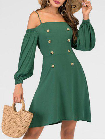 Button Tie Cold Shoulder Dress