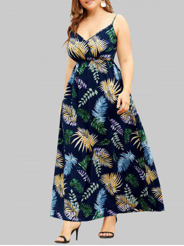 Plus Size Palm Print Cami Maxi Dress