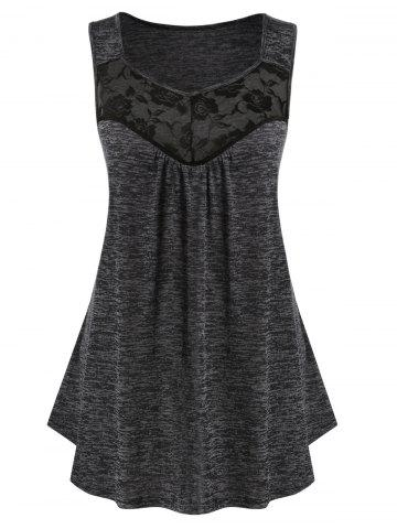 Plus Size Lace Panel Marled Tank Top - DARK SLATE GREY - 5X