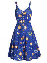 Button Front Moon and Star A Line Dress -