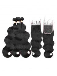3Pcs Body Wave Human Hair Weft with 1Pc Free Part Hair Weft -