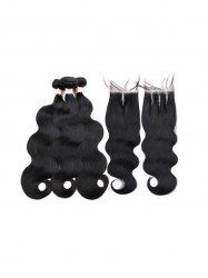 3Pcs Center Part Body Wave Human Hair Weft with 1Pc Three Part Hair Weft -