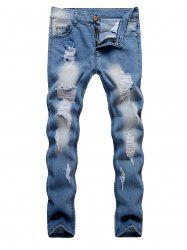 Ripped Design Zipper Fly Casual Jeans -