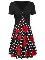 Floral Print Dotted Dress with Twisted Crop Tee -