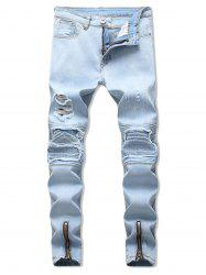 Zipper Ripped Decoration Casual Jeans -