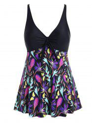 Contrast Floral Butterfly Skirted Plus Size Swimsuit -