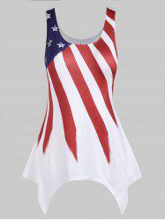 Plus Size Asymmetrical American Flag Tank Top -