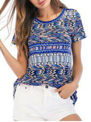 Short Sleeves Geometric Print Casual Tee -