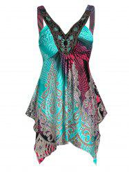 Asymmetric Plunging Neck Printed Tank Top -