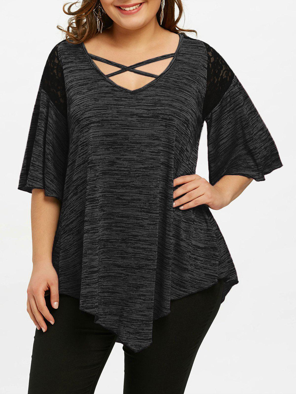 Chic Plus Size Flare Sleeve Asymmetrical Tunic T-shirt