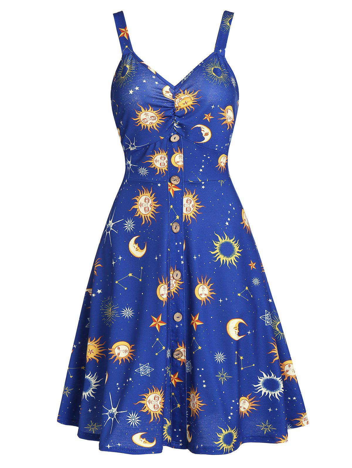 Hot Button Front Moon and Star A Line Dress