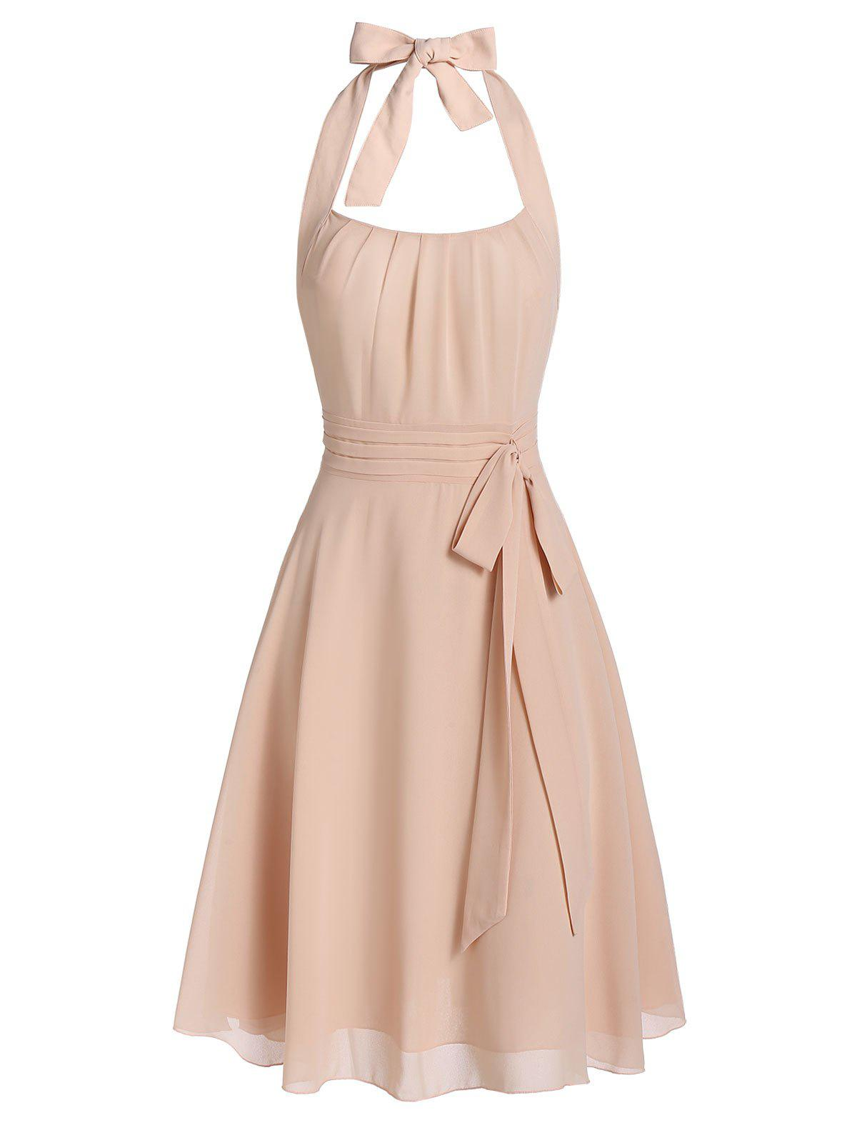Outfit Halter Knotted Open Back Casual Dress