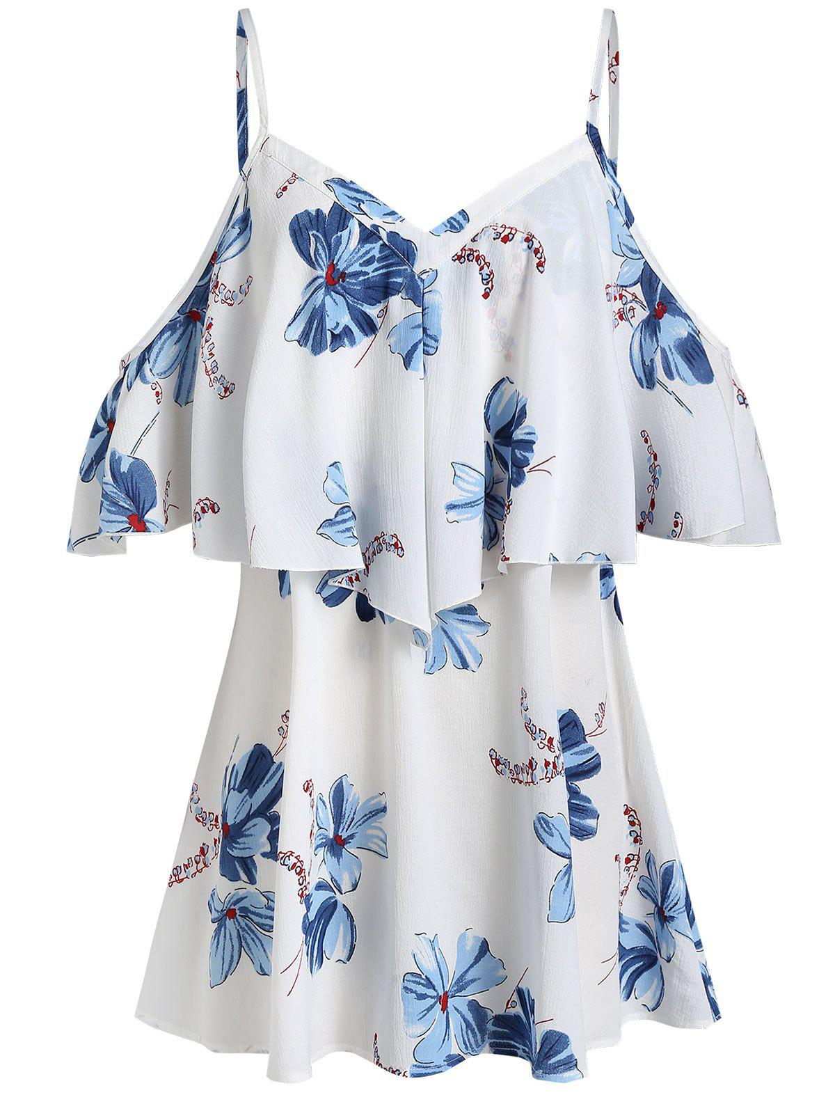 Outfits Plus Size Spaghetti Strap Cold Shoulder Printed Blouse