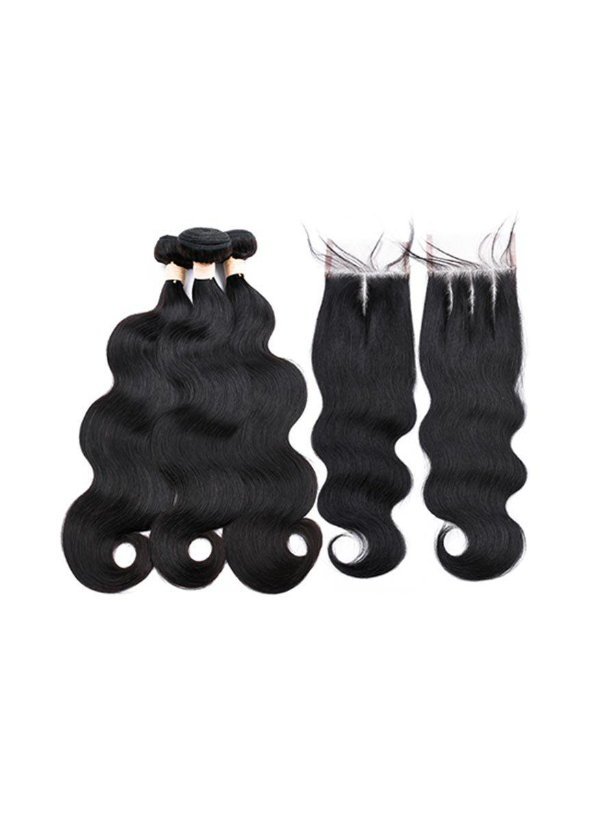 Best 3Pcs Center Part Body Wave Human Hair Weft with 1Pc Three Part Hair Weft