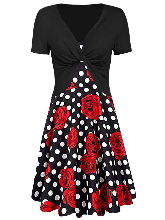Unique Floral Print Dotted Dress with Twisted Crop Tee
