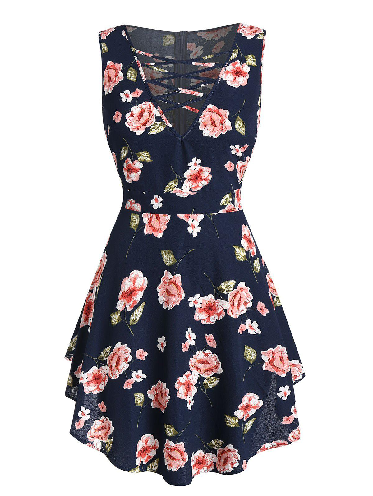 Outfits Plus Size Floral Print Criss Cross Zippered Tank Top