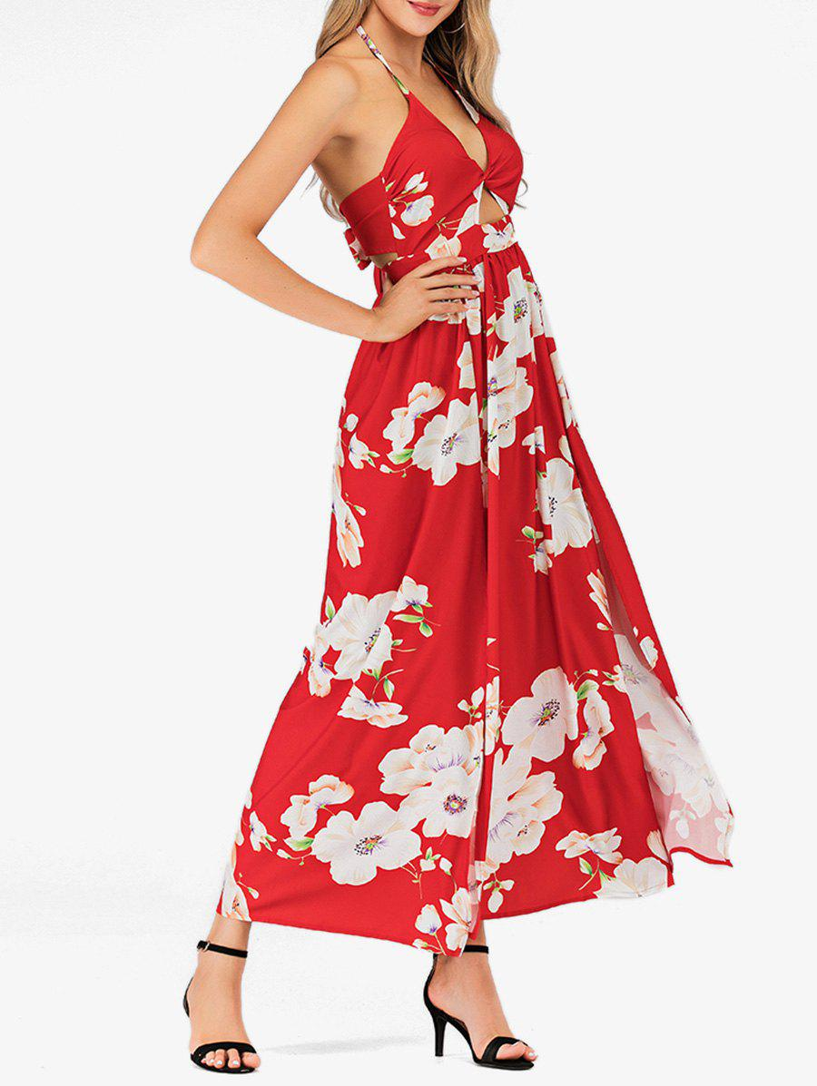 Affordable Floral Halter High Slit Maxi Dress