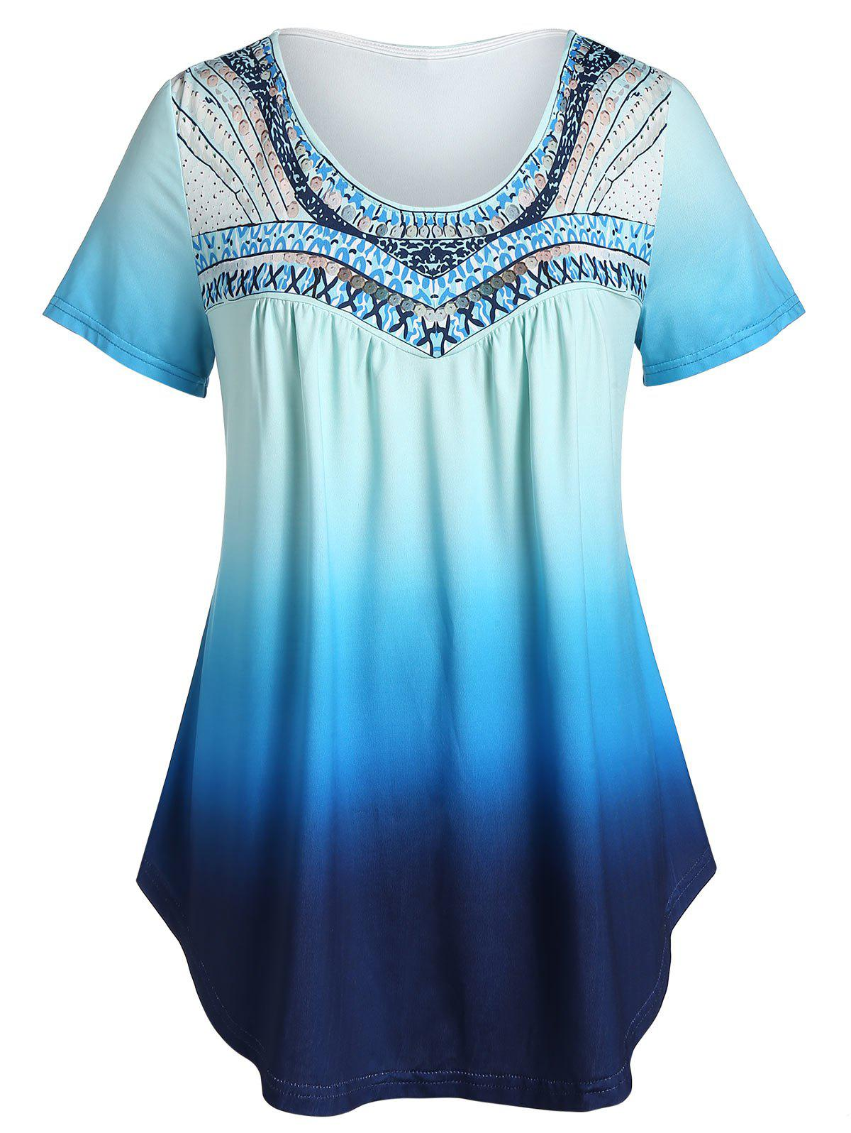 Trendy Plus Size Printed Tunic Flare T Shirt