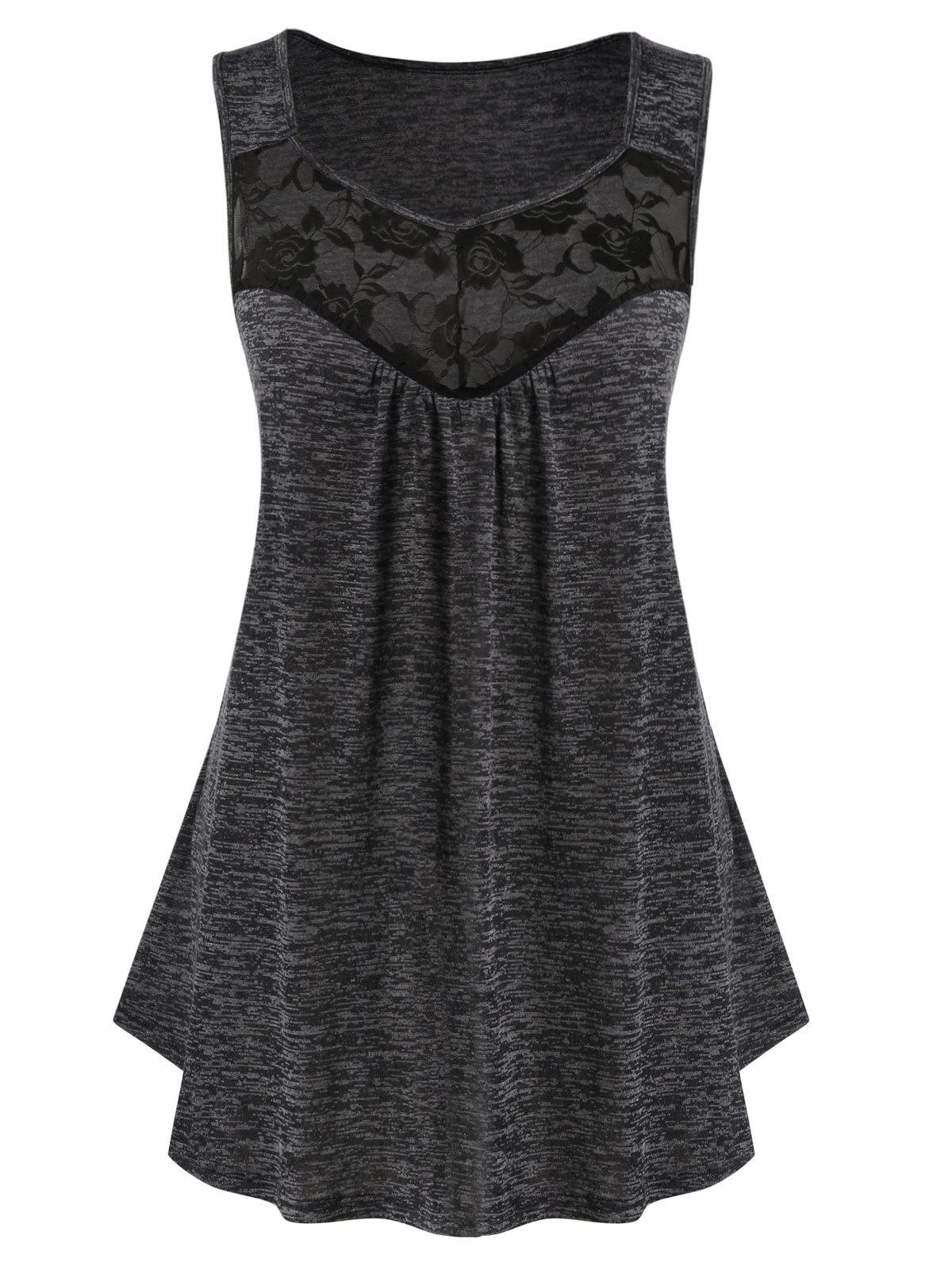 Plus Size Lace Panel Marled Tank Top фото