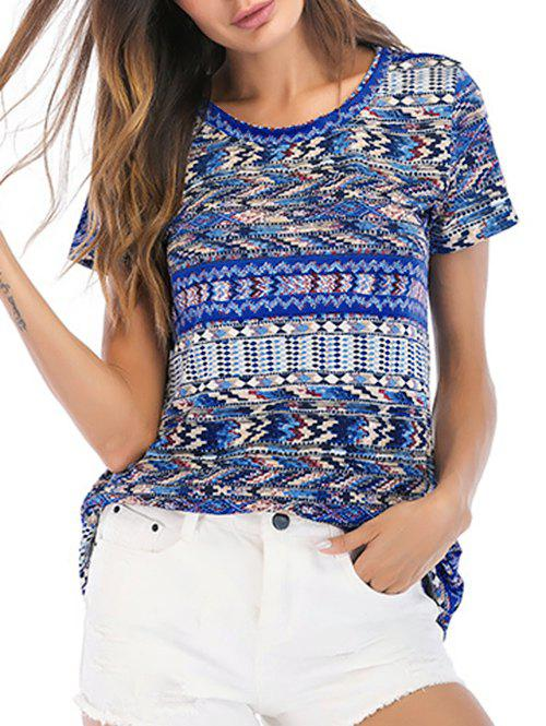 Fashion Short Sleeves Geometric Print Casual Tee