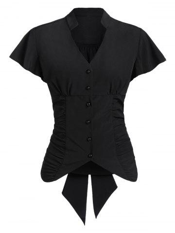 Button Up Tie Back Side Ruched Shirt