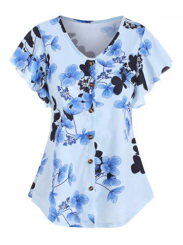 Floral Butterfly Sleeve V Neck Blouse