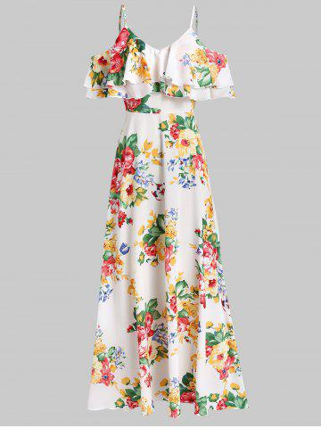 Open Shoulder Floral Print Flounce Maxi Dress
