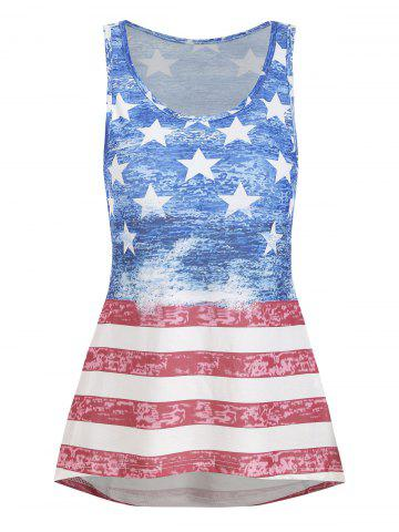 American Flag High Low Casual Tank Top