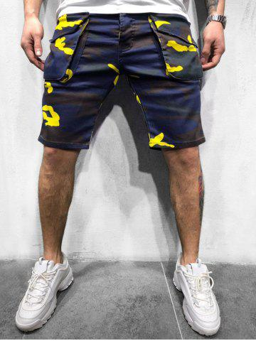 Camouflage Print Button Fly Cargo Shorts