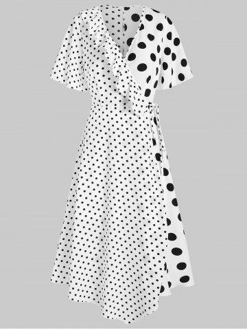 Polka Dot Surplice Maxi A Line Dress