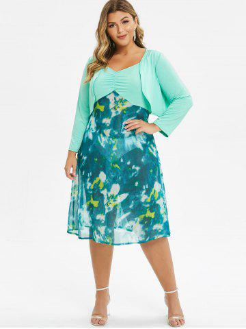 Plus Size Tie Dye Ruched Cami Dress With Top Twinset