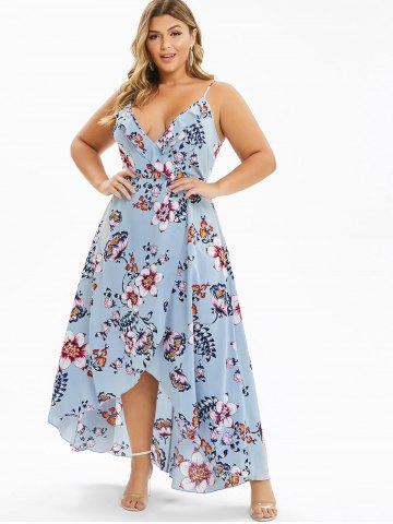 Plus Size Ditsy Print Spaghetti Strap High Low Dress