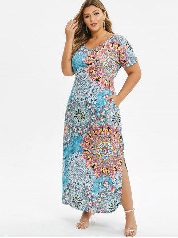 Seam Pockets Printed Slit Plus Size Dress