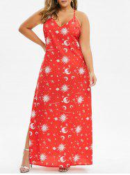 Plus Size Sun Moon Print High Slit Maxi Dress -