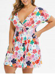 Plus Size Floral Waist Drawstring Plunge Dress -