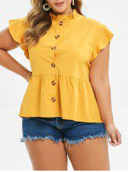Plus Size Button Up Ruffled Blouse -