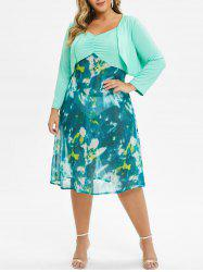 Plus Size Tie Dye Ruched Cami Dress With Top Twinset -
