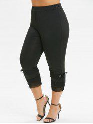 Plus Size High Waist Solid Bowknot Leggings -