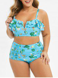 Plus Size Ruched Tropical Print Bikini Swimsuit -