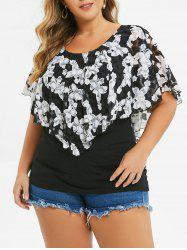 Plus Size Round Neck  Printed Overlay T-shirt -