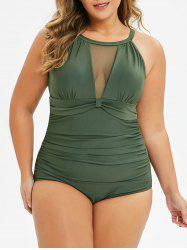 Plus Size Cut Out Sheer Mesh Ruched One-piece Swimsuit -
