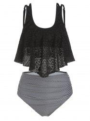 Perforated Flounce Floral Striped Ruched Tankini Swimsuit -