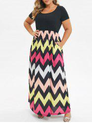 Seam Pockets Contrast Zig Zag Plus Size Dress -