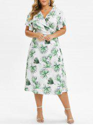 Plus Size Palm Print Midi Wrap Dress -