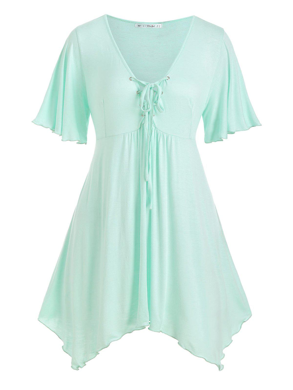 Store Handkerchief Skirted Lace Up Plus Size Top
